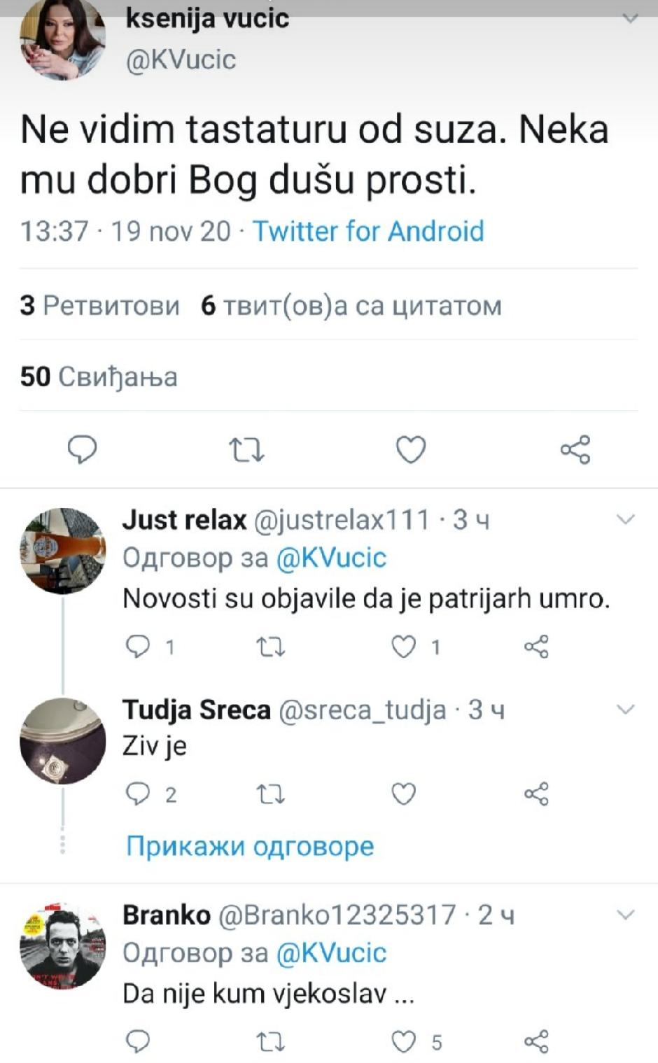Tvit Ksenije Vučić u 13.37 časova