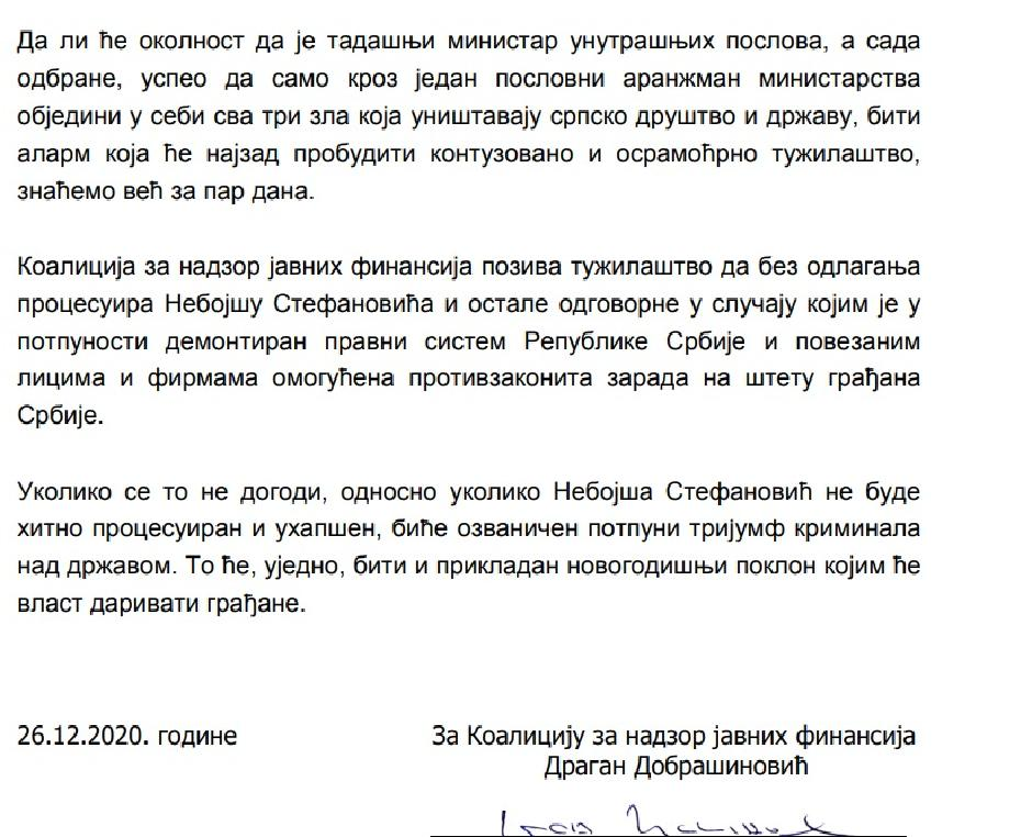 Nastavak saopštenja koje je potpisao Dragan Dobrašinović
