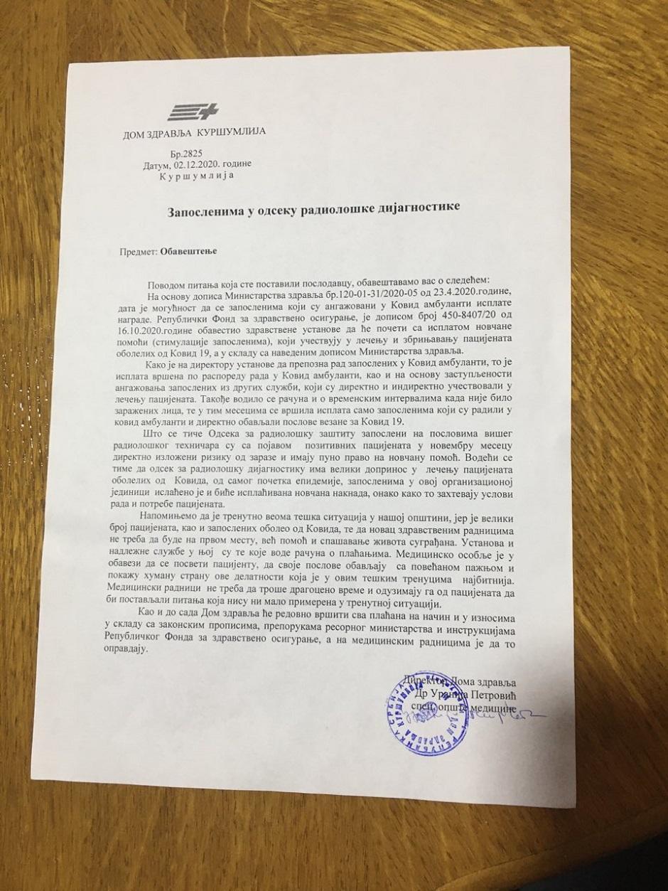 Odgovor direktorke DZ Kuršumlija, Uranije Petrović