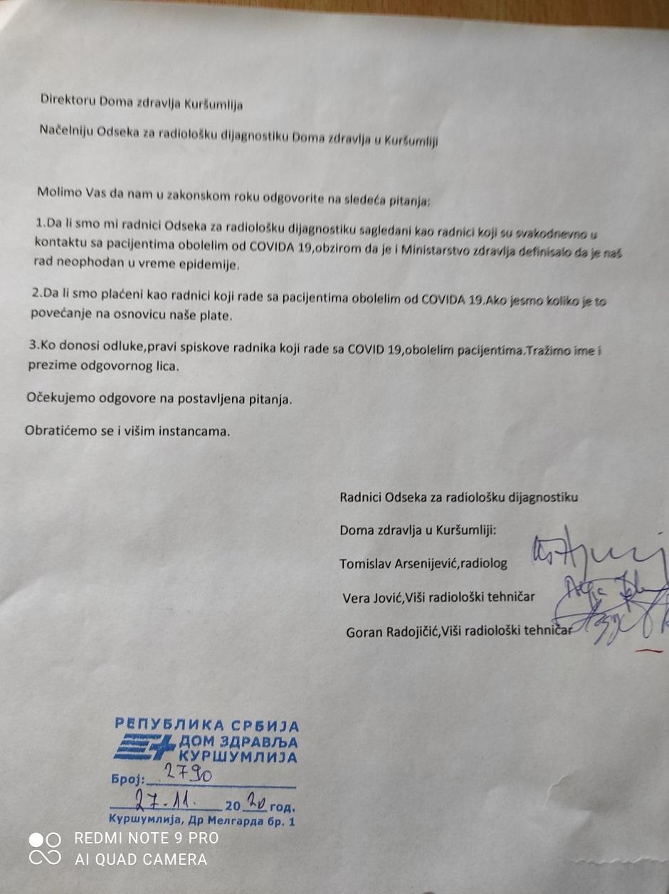 Dopis zaposlenih na odeljenju radiologije DZ Kuršumlija