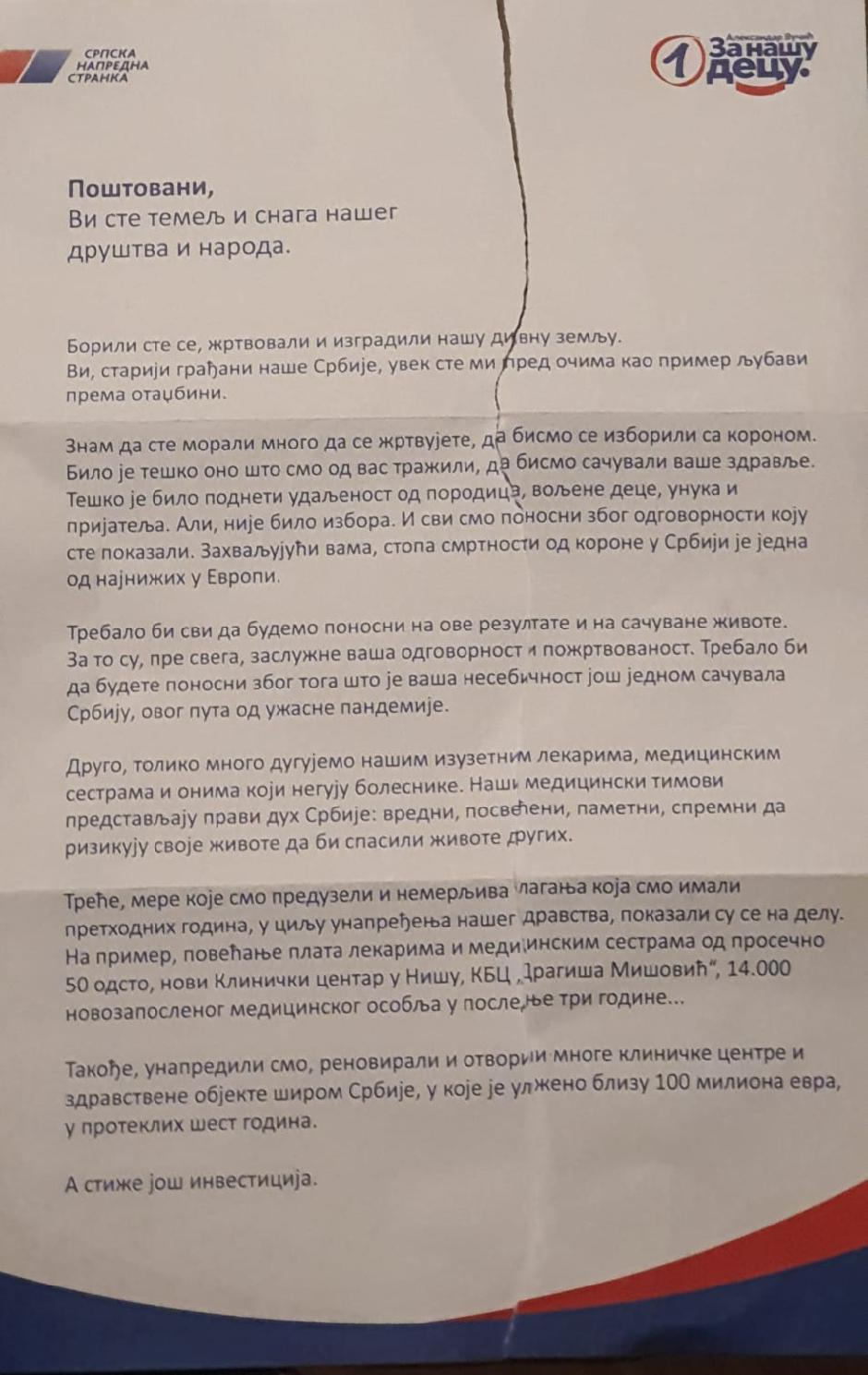 Pismo Aleksandra Vučića penzionerima FOTO: Printscreen