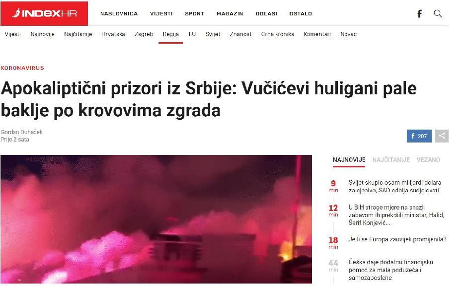 Izveštaj portala Index.hr o bakljadi SNS huligana FOTO: Printscreen