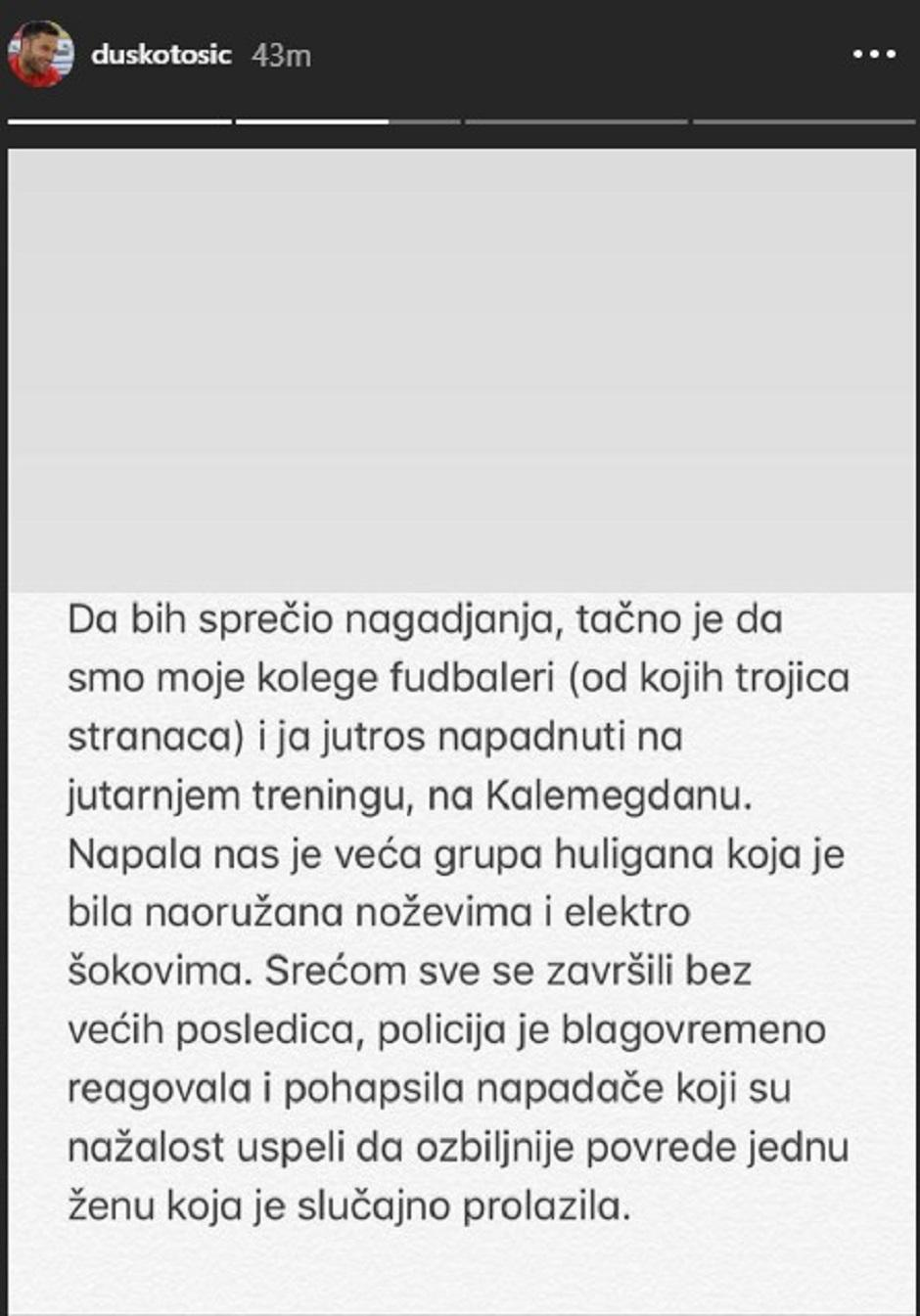 Tošićeva objava FOTO: Printscreen story Instagram