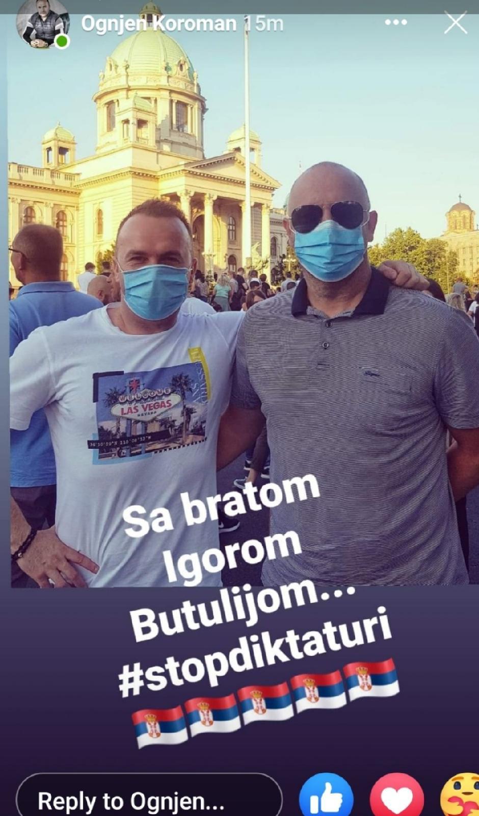 Igor Butulija sa Ognjenom Koromanom na protestu