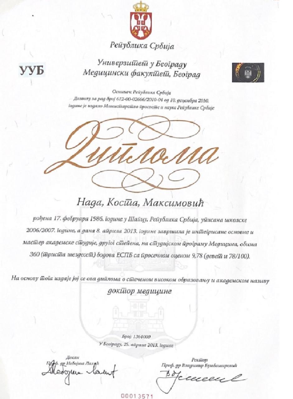Diploma, FOTO: Privatna arhiva