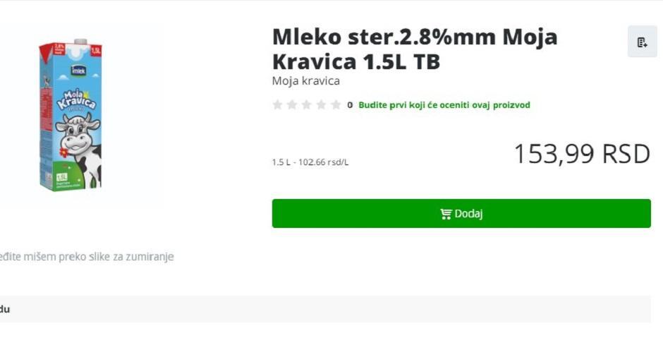 Cena mleka u Srbiji veća nego u UK FOTO: Printscreen
