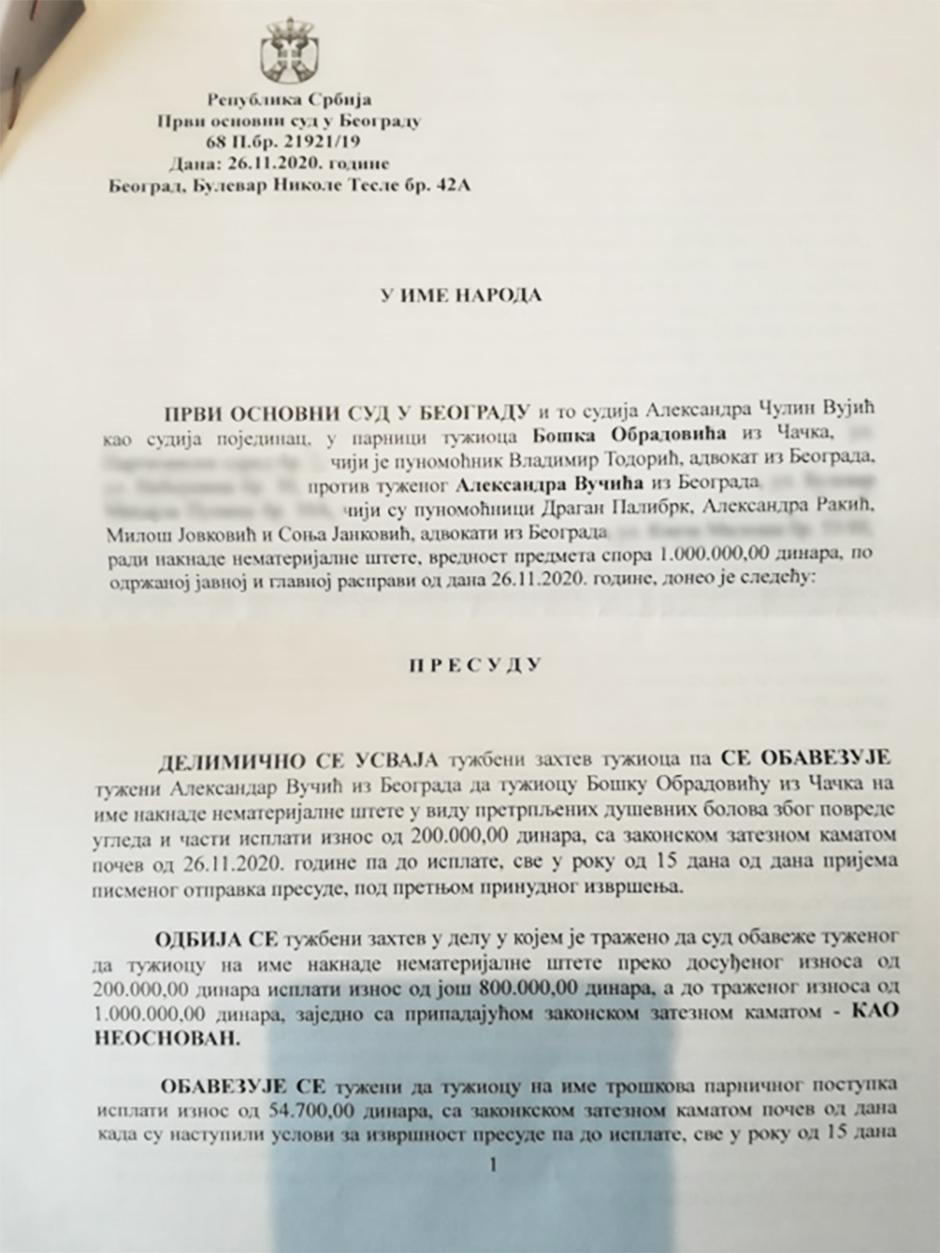 Presuda po kojoj Vučić mora da plati 200.000 dinara Bošku Obradoviću FOTO: Privatna arhiva