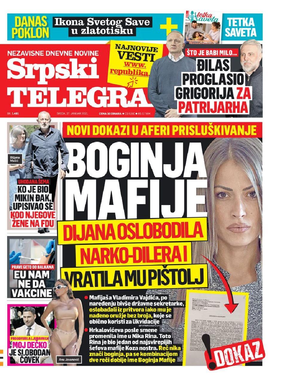 Naslovna strana Srpskog telegrafa FOTO: Printscreen