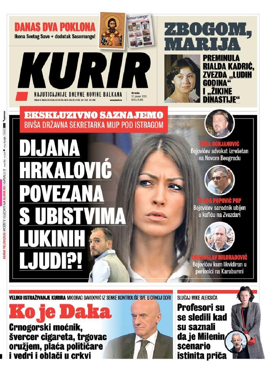 Naslovna strana Kurira FOTO: Printscreen