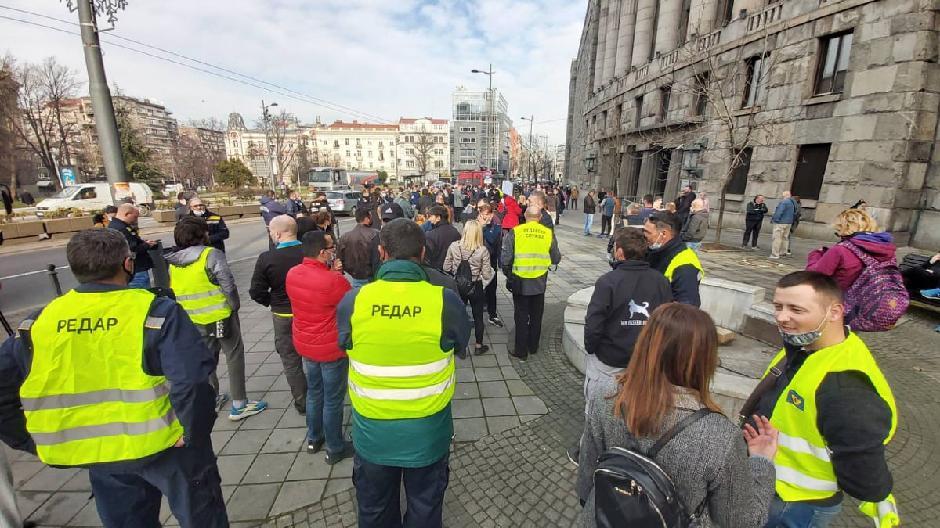 Protest radnika Pošte FOTO: Milica Vučković
