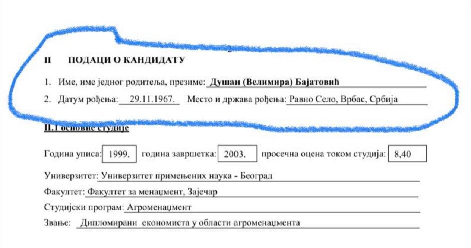 Podaci o osnovnim studijama Dušana Bajatovića