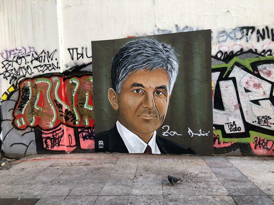 Originalni izgled obnovljenog murala Zoranu Đinđiću