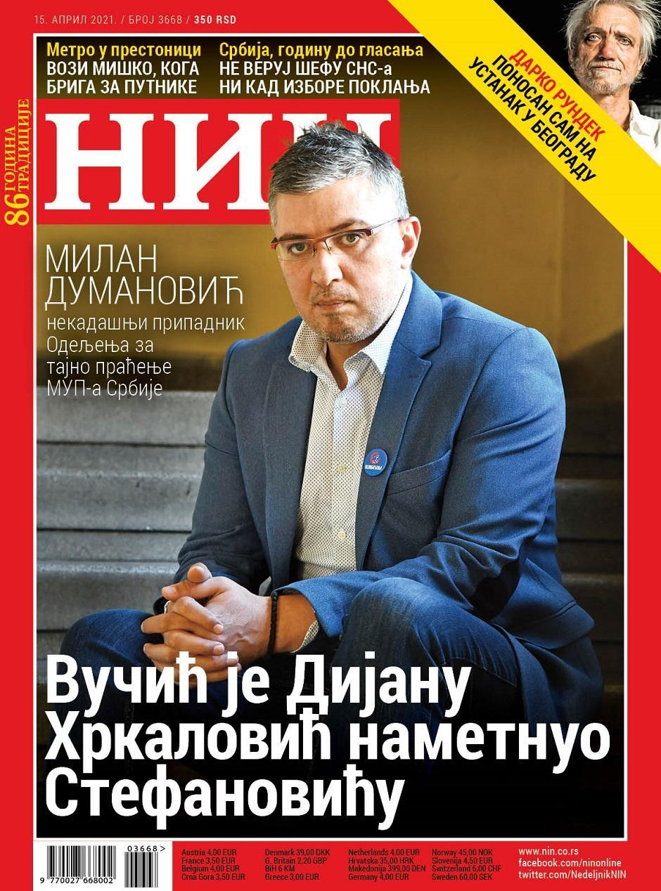 Naslovna strana nedeljnika NIN FOTO: Printscreen