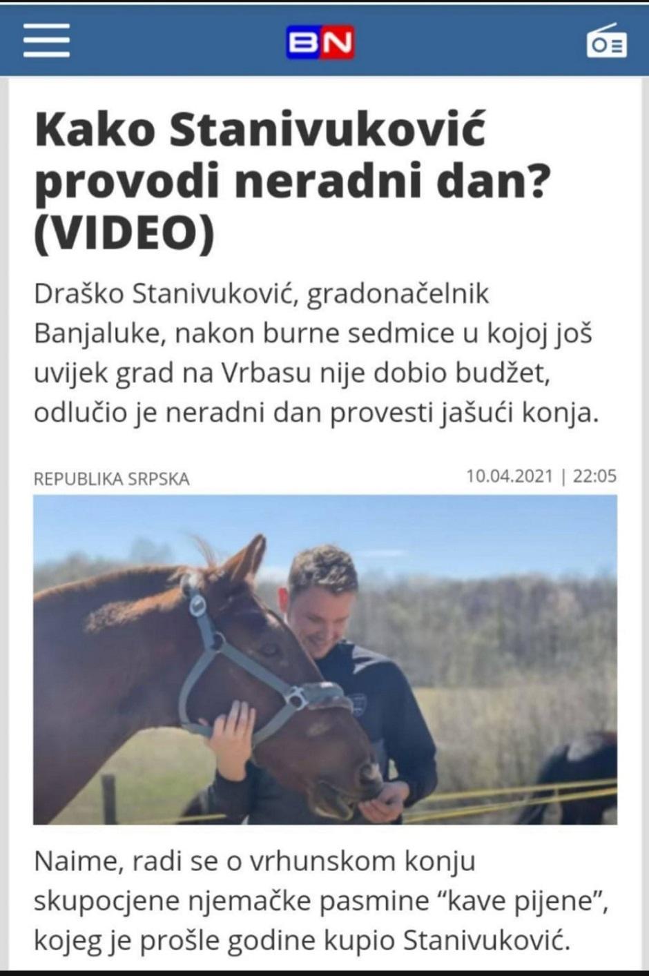 Stanivuković sa svojim konjem FOTO: Printscreen