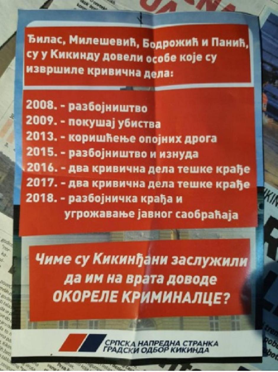 Pamflet koji SNS deli u Kikindi i tako crta metu na čelu Đilasu, Mileševiću, Bodrožiću i Paniću FOTO: Printscreen/Nova.rs