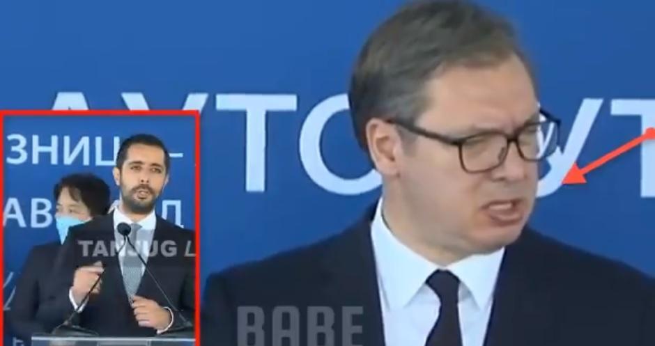 Vučićeva grimasa tokom govora Momirovića; FOTO: Printscreen