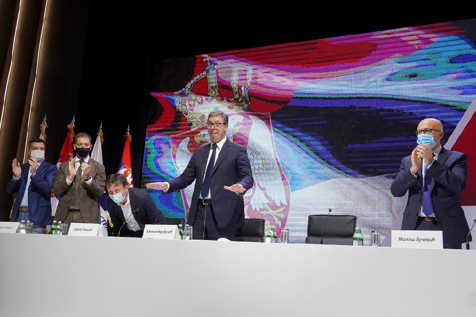 SNS glavni odbor: Vučić, Glišić, Đurić, Vučević FOTO: ATA images
