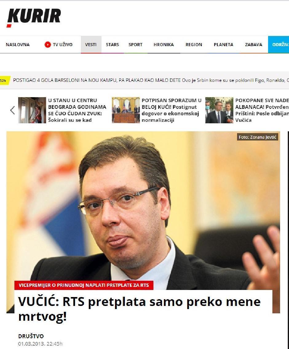 Vučić nije ispunio obećanje za TV pretplatu FOTO: Printscreen