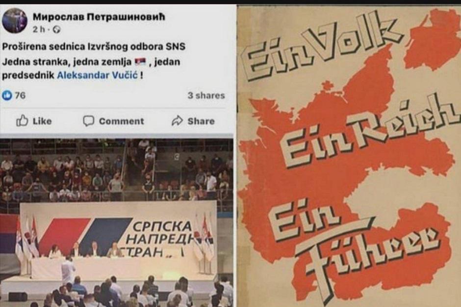 Fejsbuk status Miroslava Petrašinovića (na slici levo) i slogan Nacionalsocijalističke radničke partije Nemačke (na slici desno) FOTO: Printscreen