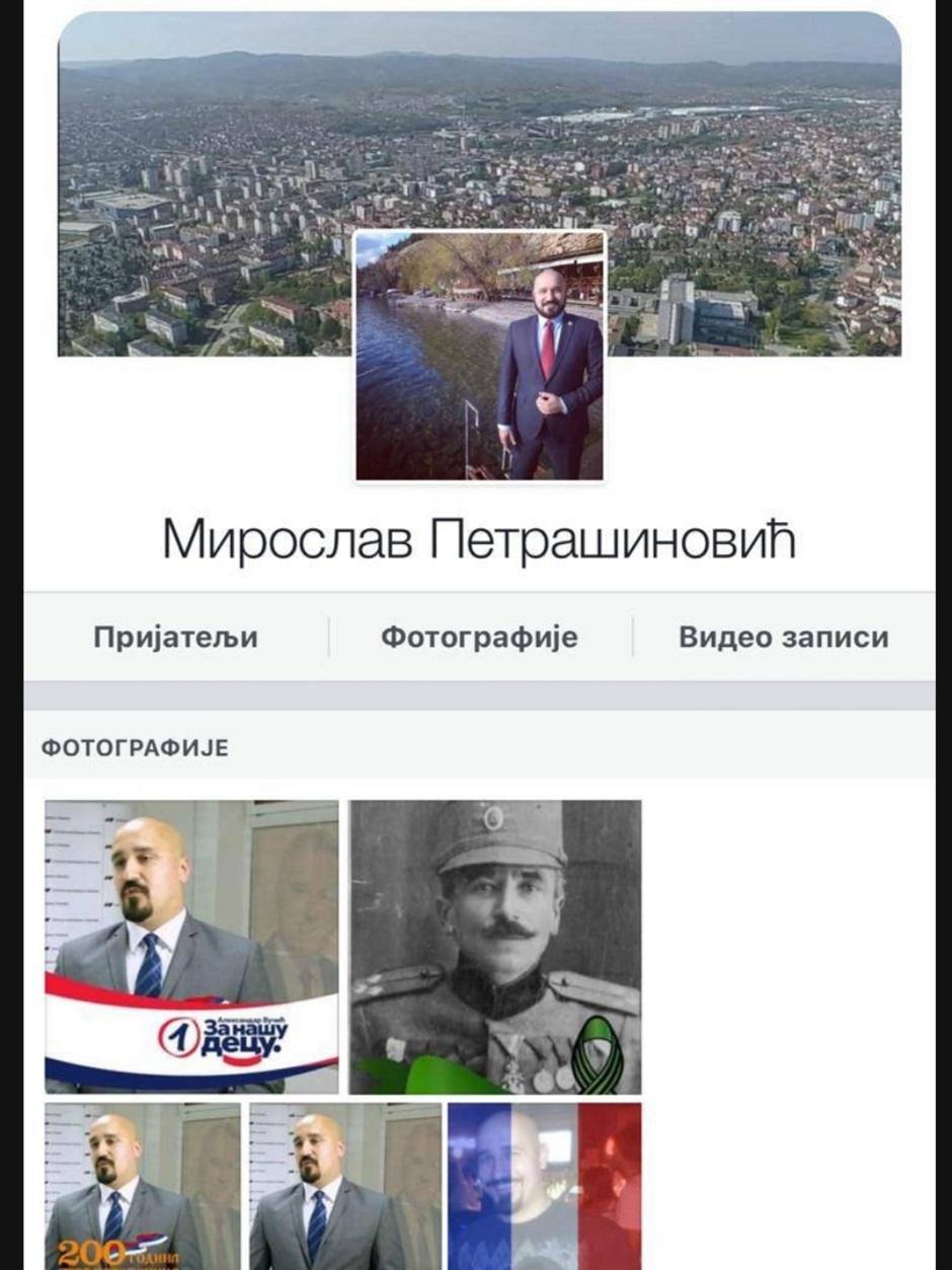 Fejsbuk profil Miroslava Petrašinovića FOTO: Printscreen