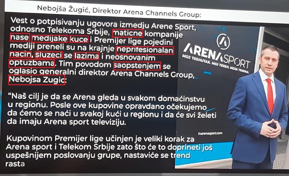 Saopštenje Arene puno pravopisnih grešaka FOTO: Printscreen