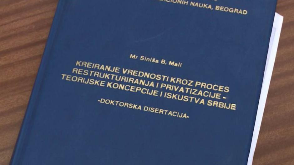 Doktorska disertacija Siniše Malog FOTO: Printscreen