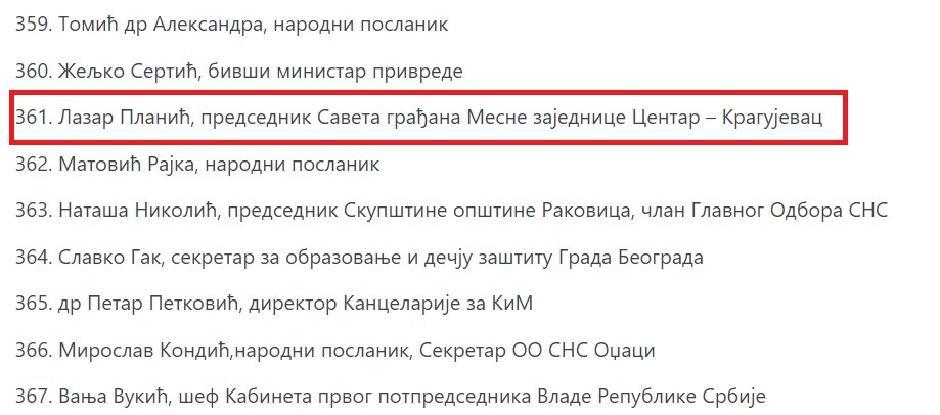 Lazar Planić kao 361. na listi potpisnika peticije FOTO: Printscreen