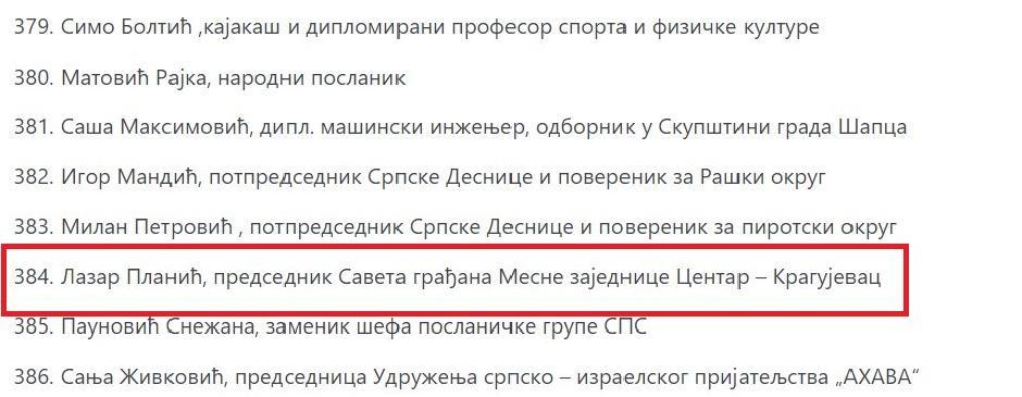 Lazar Planić kao 384. na listi potpisnika peticije FOTO: Printscreen