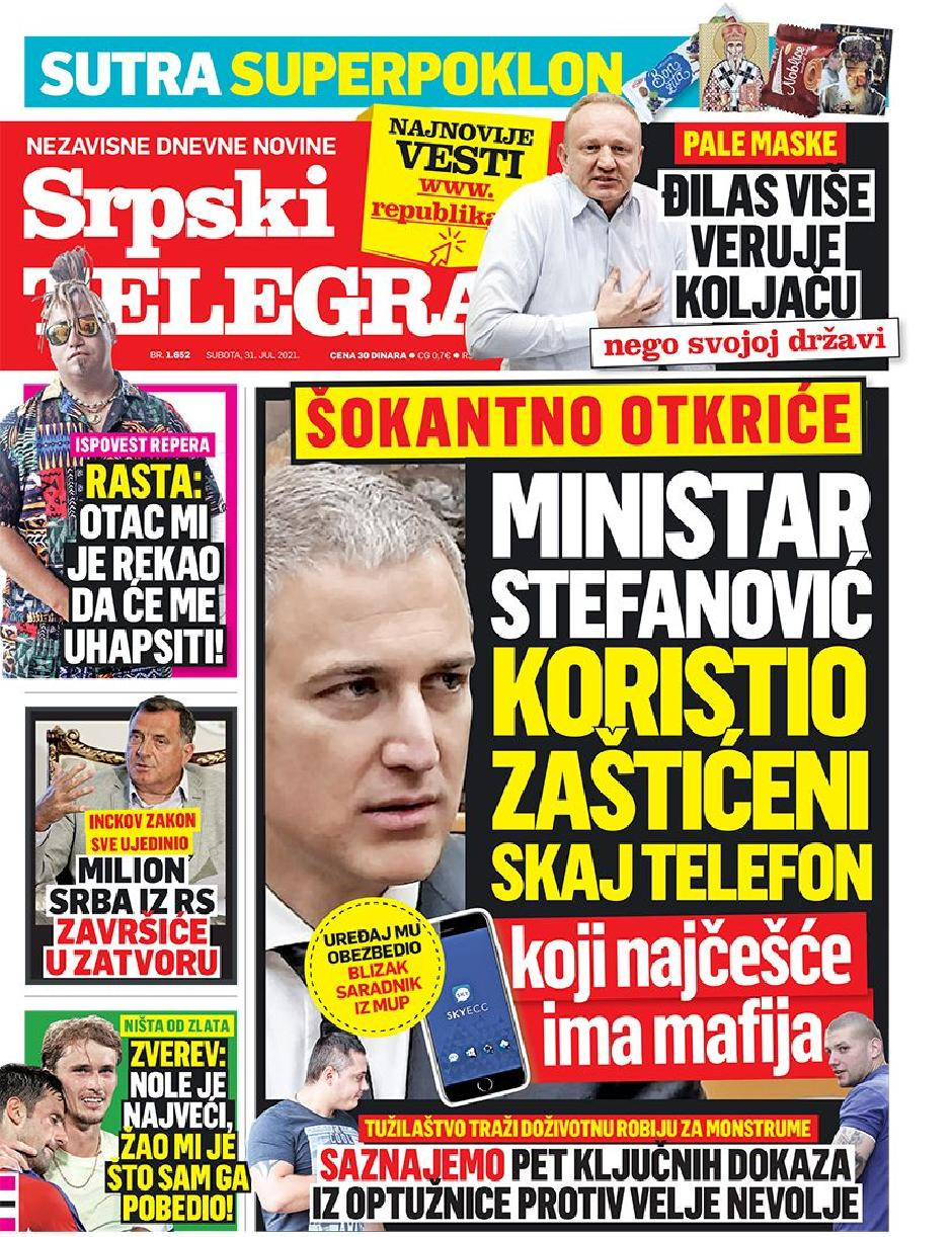 Srpski telegraf, FOTO: Printscreen