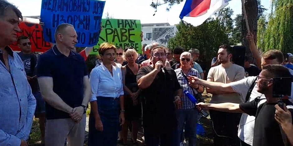 Opozicija ispred PKB FOTO: Printscreen