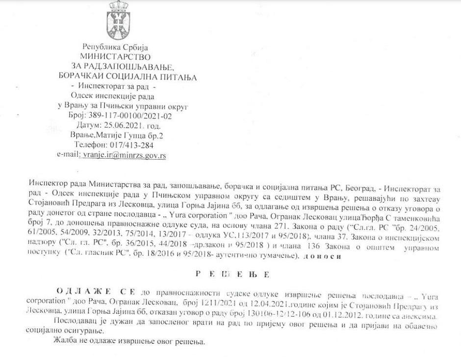 Jura odbija da postupi po rešenju FOTO: Printscreen