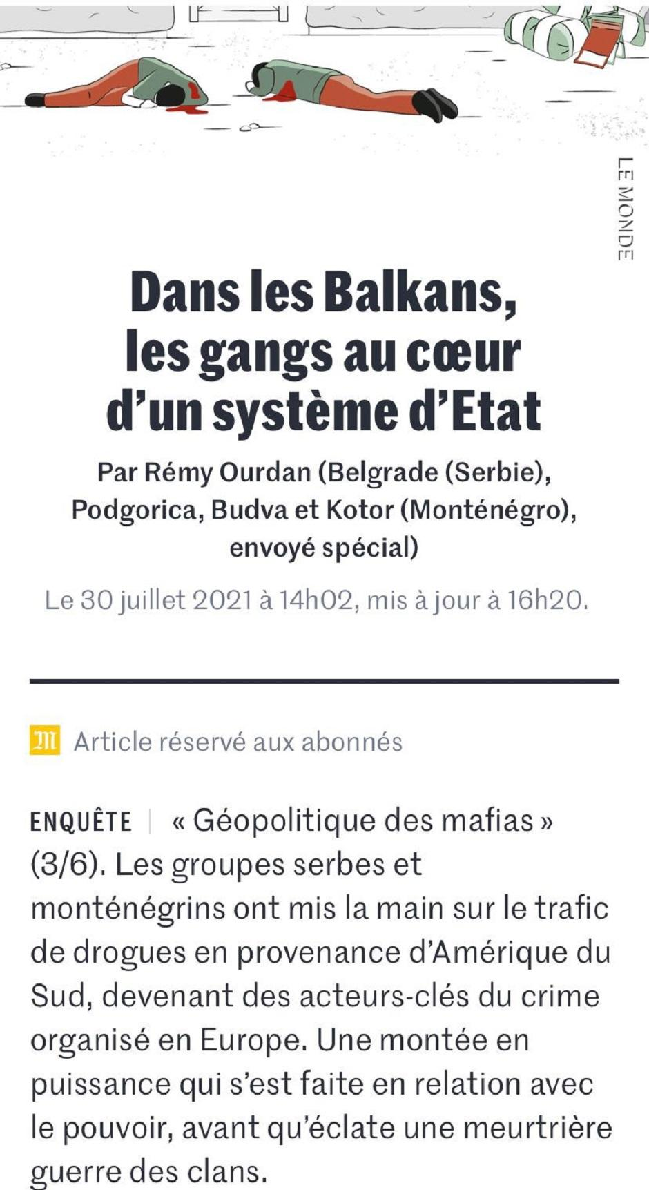 Francuski mediji o sprezi mafije i države FOTO: Printscreen