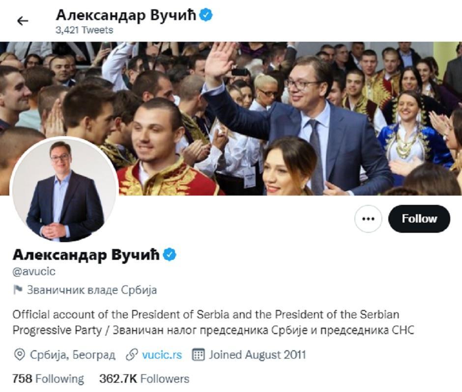 Prvi Tviter nalog Aleksandra Vučića