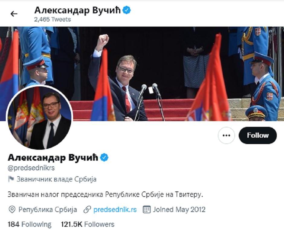 Drugi Vučićev Tviter nalog