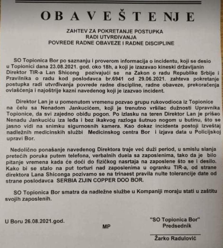 Saopštenje SO Topionica Bor povodom napada direktora na radnika FOTO: Direktno.rs