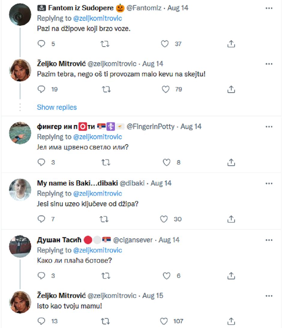Željko Mitrović, Tviter