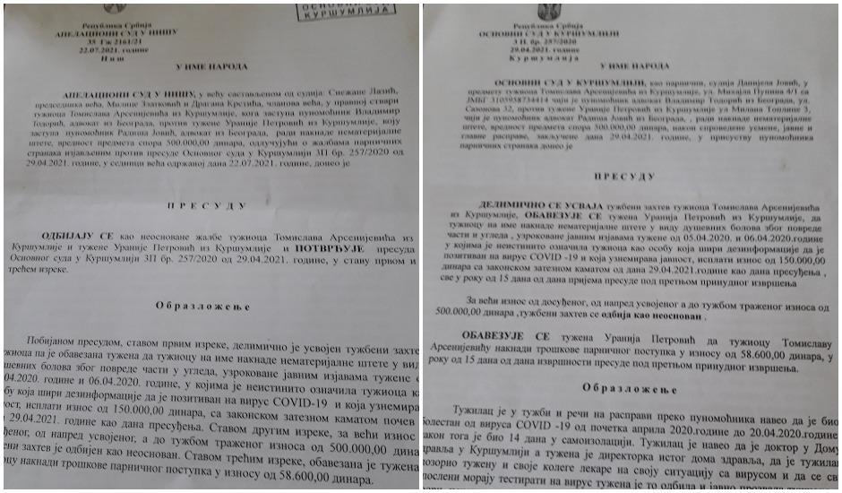Presude Apelacionog suda u Nišu i Osnovnog suda u Kuršumliji