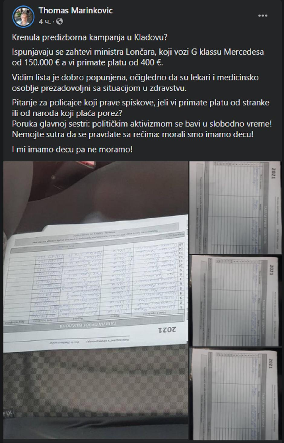 FB status Tomasa Marinkovića; FOTO: Printscreen