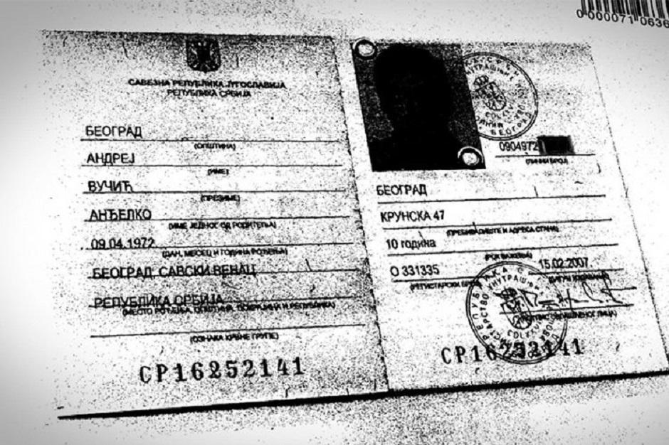Sporna lična karta Andreja Vučiča; FOTO: Printscreen