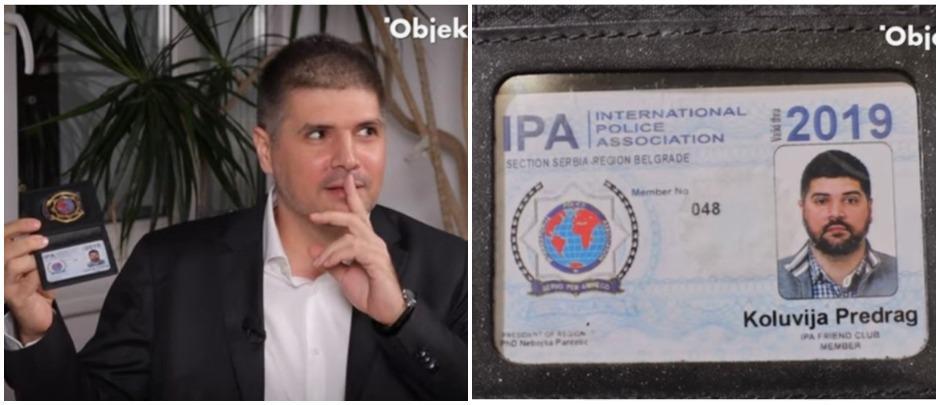 IPO legitimacija kojom se Koluvija sada vadi, nikada nije bila predmet istrage, niti se na nju pozvao prilikom zaustavljanja, provere, privođenja… i kojom je mahao kod Đuke FOTO: Printscreen