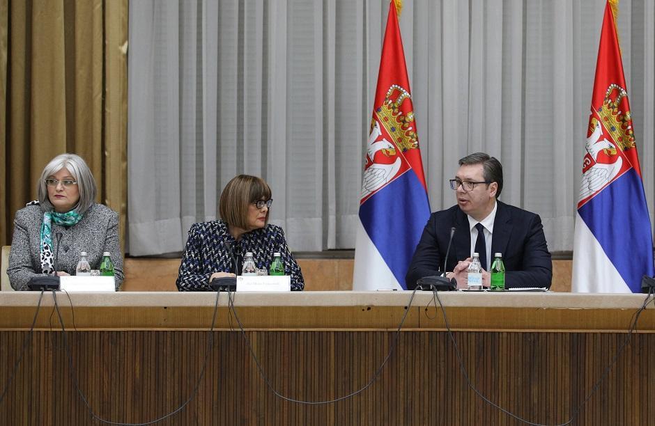 Jorgovanka Tabaković, Maja Gojković i Aleksandar Vučić, Foto: Beta